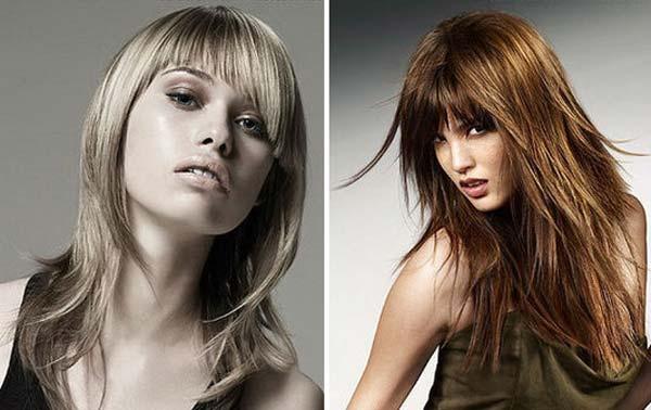 варианты стрижек на длинные волосы с челкой